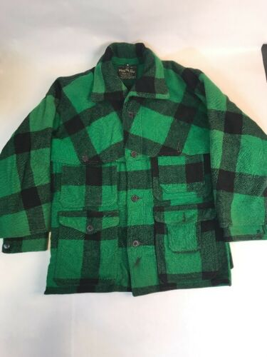 Vintage White Stag Wool Jacket Coat 42 Green Black