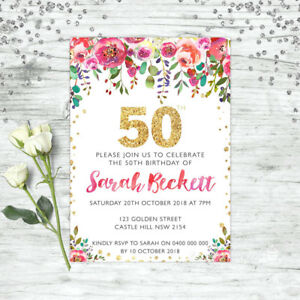 Details About 50TH BIRTHDAY INVITATIONS FIFTY PERSONALISED PARTY SUPPLIES INVITE FLORAL PINK