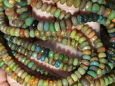 Ethiopian Opal Smooth Beads,Welo Flash Multi Fire Opal Rondelle Beads,High Polish Opal Necklace,Fire Jewelry Stone Beads,4-5.5mm,8 AAA
