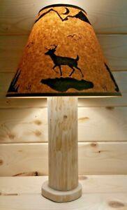 Rustic Deer Log Table Lamp W Free Shade Cedar Hunting