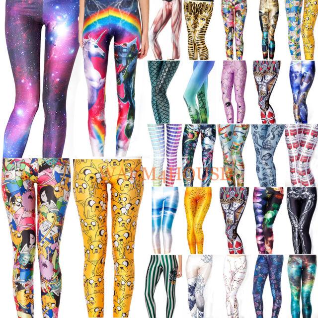 Women YOGA GYM Digital Print Stylish Space Skinny Galaxy Leggings Pants S-M/L-XL