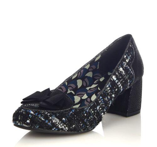 Ruby Shoo NEW Thalia black tweed block mid heel loafer shoes sizes 3-8
