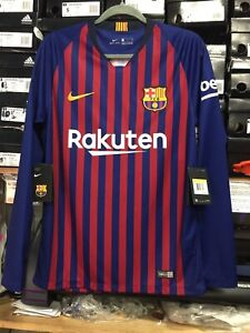 size 40 95859 04c3b Details about nike Fc barcelona Home Jersey 2019 Long Sleeve #10 Messi Name  And Number Size S