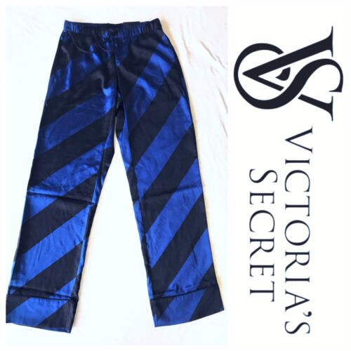 Victorias Secret Satin Lounge Blue /& Black Striped Pajamas Pants Size Large