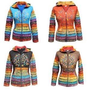 Women-039-s-Sun-Patchwork-Pixie-Hippy-Ribs-Hoodie-Light-Cotton-Hippie-Faded-Jacket