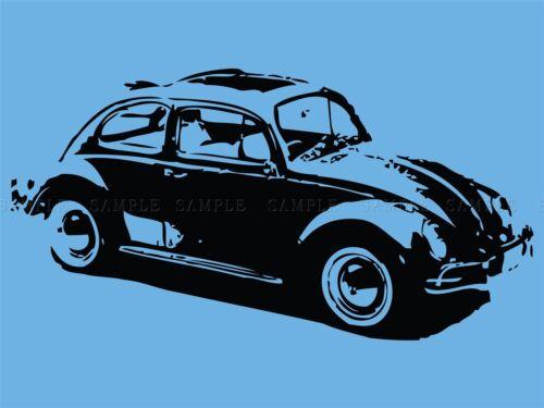 ILLUSTRATION RETRO AUTOMOBILE CAR BEETLE BUG BLUE POSTER ART PRINT VE092A