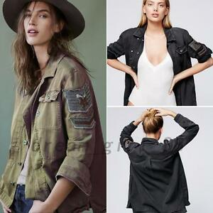 Women-039-s-Butto-Up-Embellished-Embroidered-Army-Military-Shirt-Jacket-Outwear-Coat