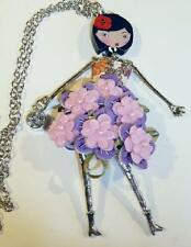 PINK & MAUVE FLOWER DOLL NECKLACE by BONSNY - 110mm - FREE UK P&P.......CG0149