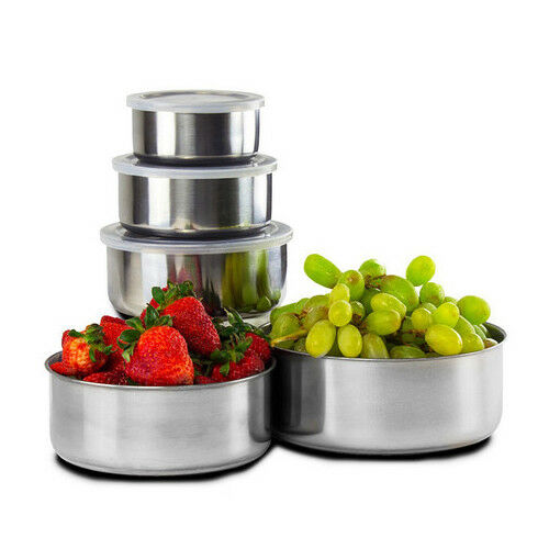 10-Piece-Home-Collections-BPA-Free-Stainless-Steel-Clear-Storage-Bowl-Set