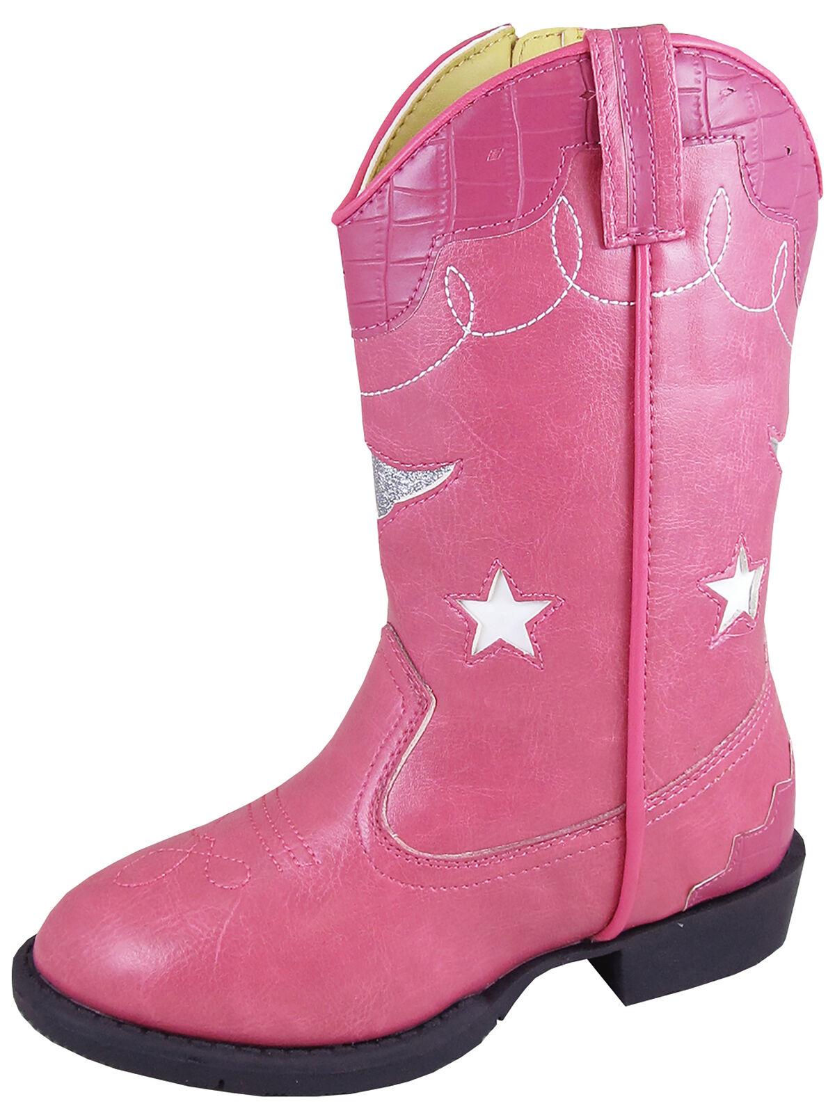Smoky Mountain Kids Girl Austin Lights Western Cowboy Boots Leather Stars Pink