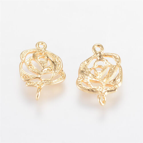 20 X Véritable Plaqué Or Fleur laiton links for jewelry making 15.5x10x2mm Trou 1 mm