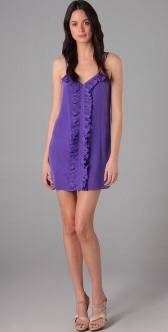 Tibi Ruffle Front Dress in lila - Sz 4