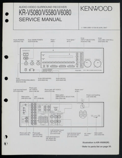 Kenwood Kr V5580  V6080 Original Av Receiver Service Manual  Diagram O202