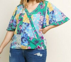 New Umgee Top 2X Green Floral Patchwork Flutter Sleeve Boho Peasant Plus Size