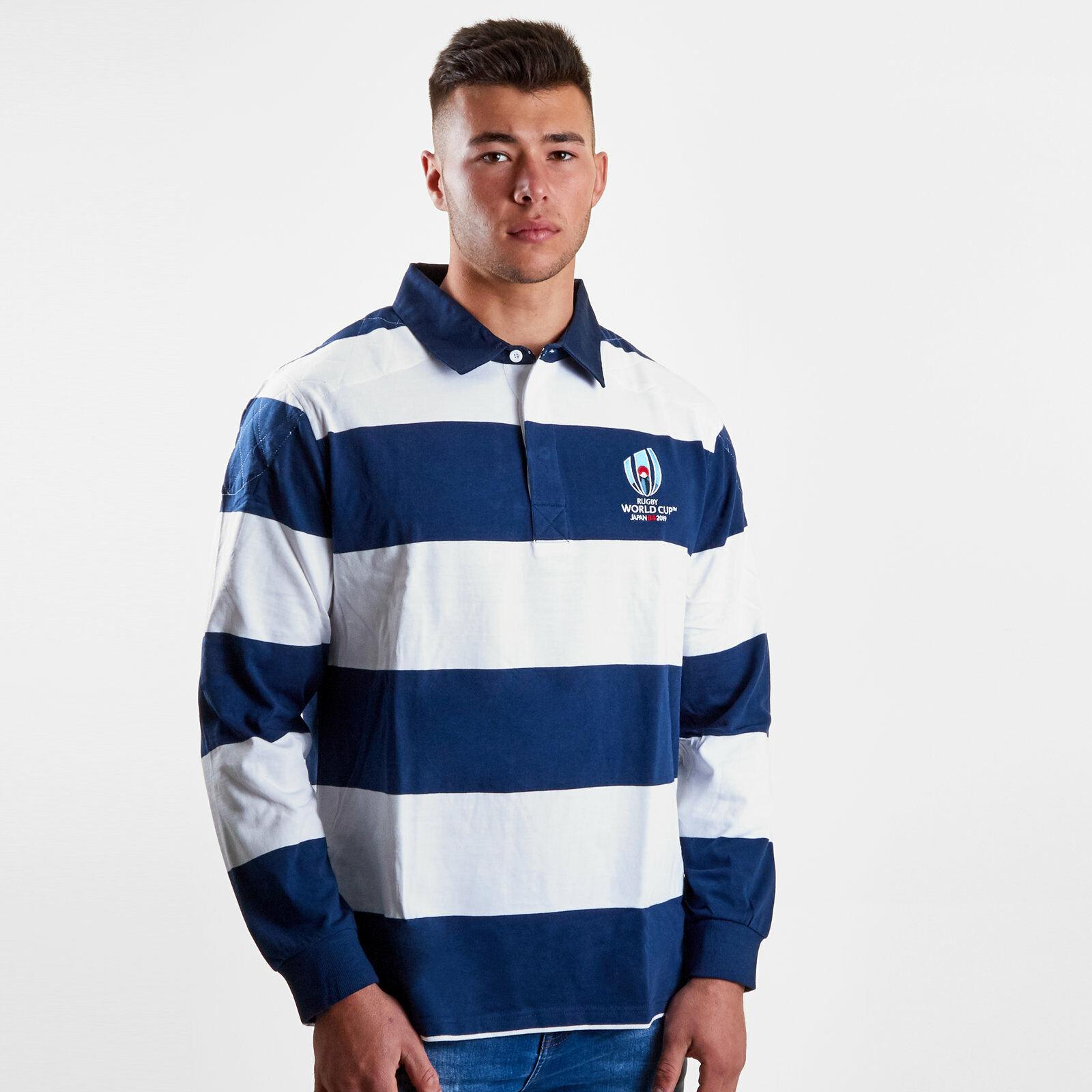Mens RWC 2019 Long Sleeve Stripe Rugby Shirt Navy