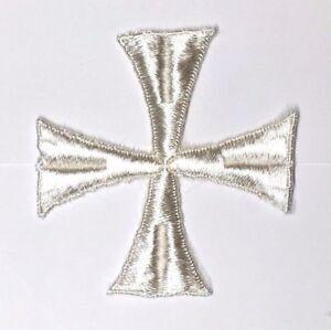 Vintage-Cruz-Bordado-3-034-para-Coser-Blanco-Crudo-Maltes-Emblema-Parche-2PC