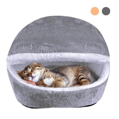 Pet Cat Cave Bed Kitten Puppy Dog House Sleeping Nest Kennel Blanket Mat Cushion