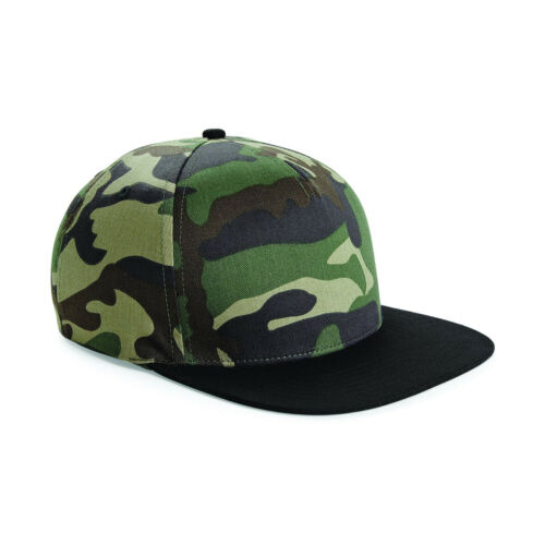 Beechfield Camo Snapback Cap Flat Peak Urban Camouflage Hat Mens Womens B691