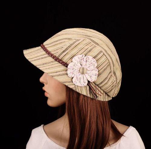 M253 Rayures Vert /& Fleur de Coton Chapeau De Soleil Bord Casquette Newsboy Automne Femme Neuf Avec Étiquettes