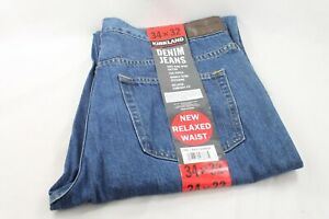 Kirkland-Signature-Mens-Washed-Blue-Denim-Jeans-Pants-Relaxed-Fit-Size-34x32