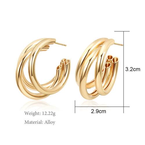 Details about  /Fashion Gold Silver Metal Dangle Earrings Jewelry Geometric Big Drop Earrings