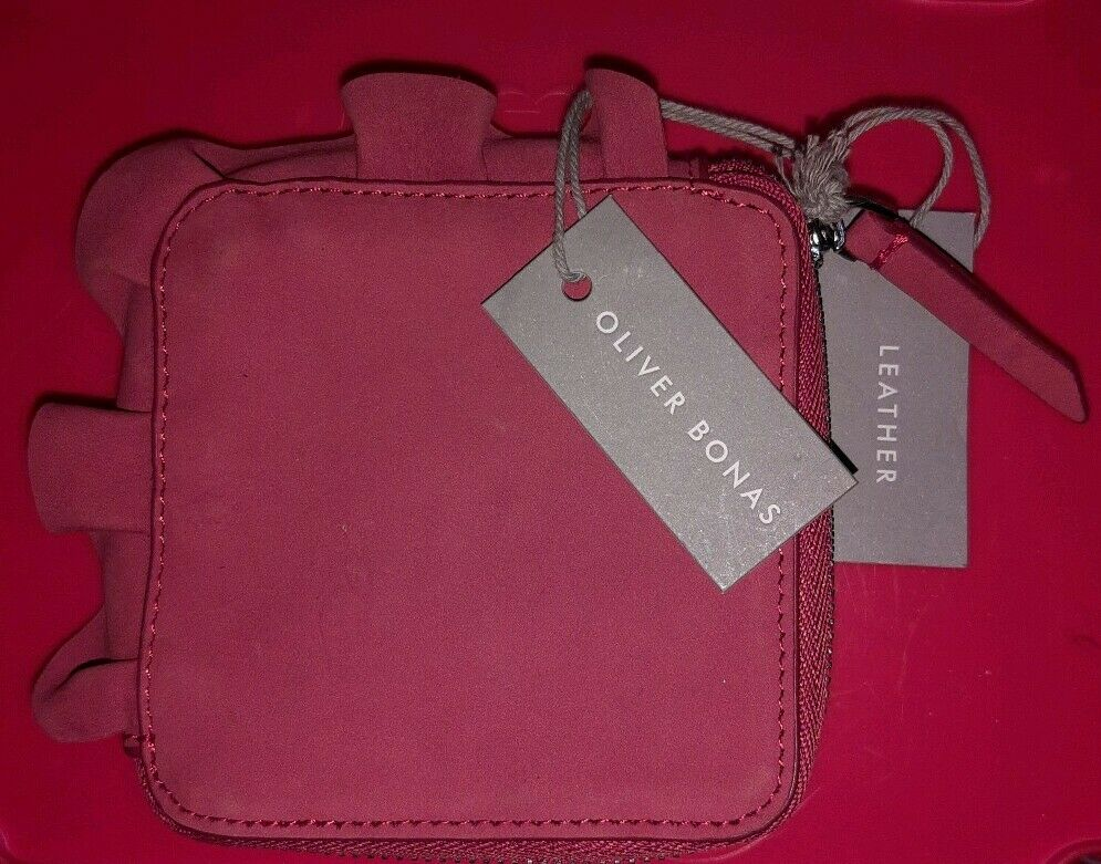 Oliver Bonas salmon pink ruffle real genuine leather purse wallet new gift case