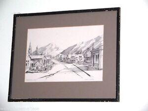 Buckingham-St-Arrowtown-New-Zealand-Framed-Print-of-Sketch-by-R-Sansom-39-5x32cm
