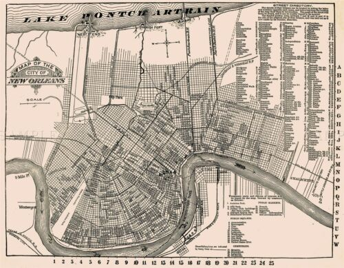 MAP 1910 CREOLE PUBLISHING NEW ORLEANS TOURIST GUIDE REPRO POSTER PRINT PAM2021