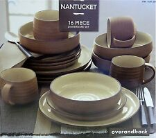 Over and Back Nantucket Dinnerware Set 16Pc Tan/Speckled