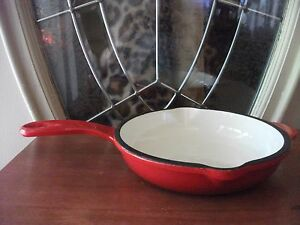 "Cottage Collection Enamel/Cast Iron 8 1/2"" Skillet - Red - New!"