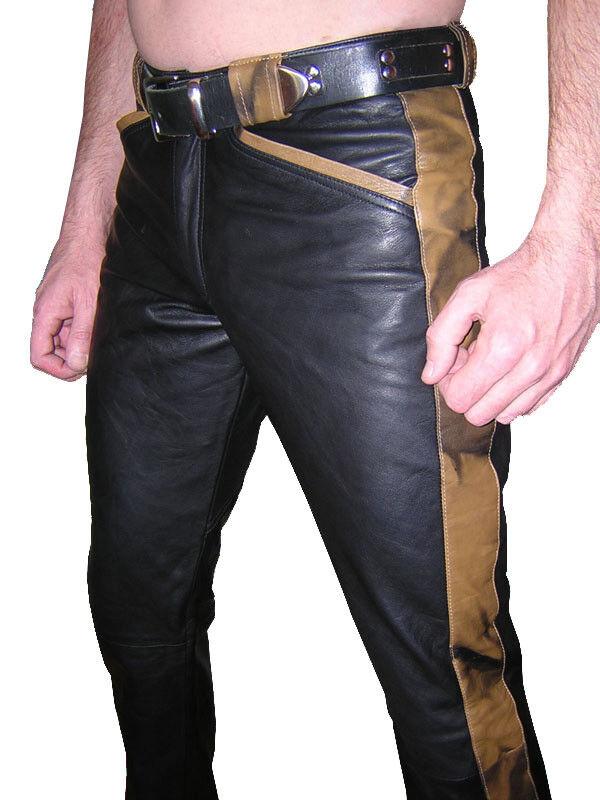DEsigner DEsigner DEsigner Lederhose schwarz braun Lederjeans neu leather trousers schwarz braun 6d9b7b