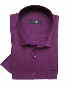 Herren-Kurzarm-Hemd-Gr-3XL-Violett