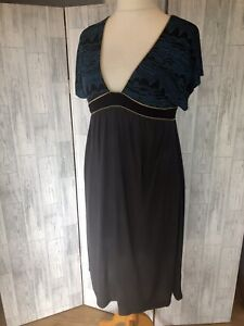 French-Connection-Grey-amp-Blue-Empire-Line-Dress-With-Plunge-V-Neck-Uk14