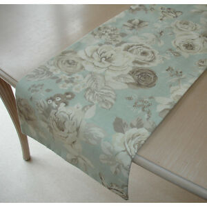 small 3ft coffee table runner roses beige brown cream on duck egg