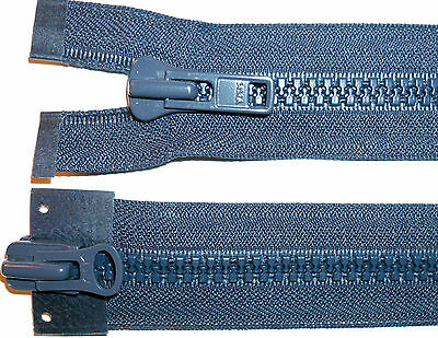 "YKK ZIP NO 8 26/""//66CM  PLASTIC CHUNKY TEETH  OPEN END NAVY DOUBLE PULLER"