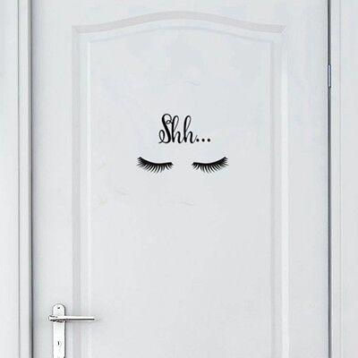 Cute Beautiful Shh... Eyelash Vinyl Wall Sticker Girls Room Lovely Decals Decor