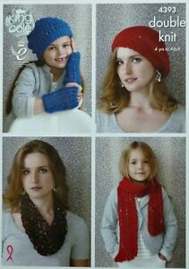 Knitting Pattern Ladies Childrens Hats Wristwarmers Scarf Cowl