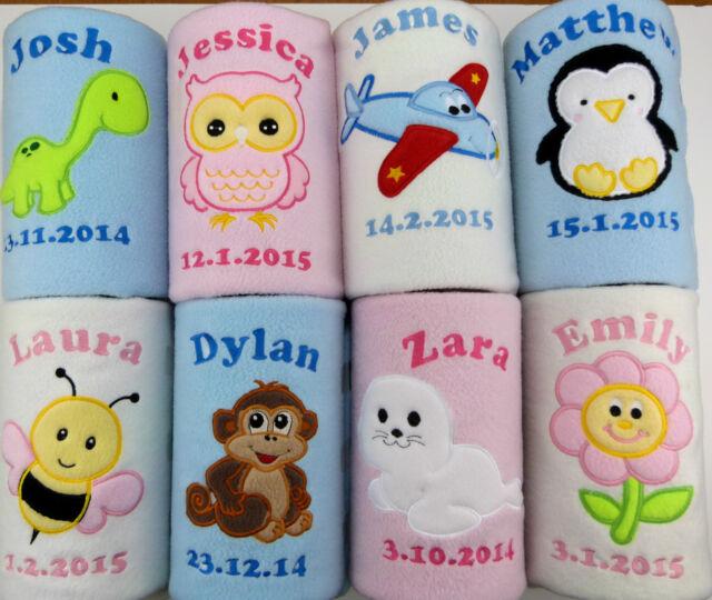 Personalised Baby Fleece Embroidered Blanket New Birth Name Date Gift Keepsake