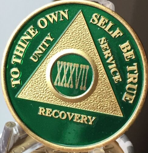 37 Year AA Medallion Green Gold Plated Alcoholics Anonymous Sobriety Chip Coin