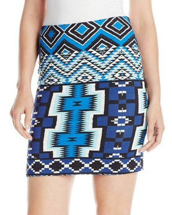 Karen Kane 2L33553 Aquamarine Blau Geo Stretch Knit Jersey Pencil Skirt -  98