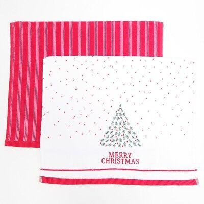 Red Very Merry Applique Christmas Tea Towel 2pk Set