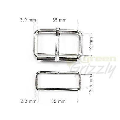 Half roller buckles wire formed and belt loops, different sizes and colours