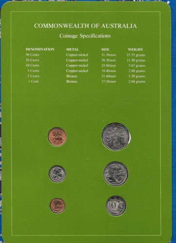 Coin Sets of All Nations Australia w//card UNC 50,20,10,5,2,1 cent 1982 20JAN1983