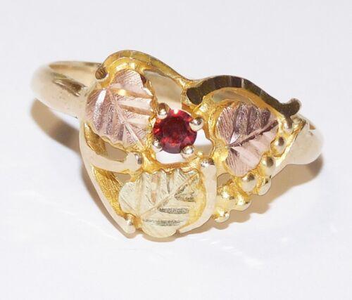 Details about  /Black Hills Gold 10k 12k Garnet Accent Three Leaves Ring Size 7
