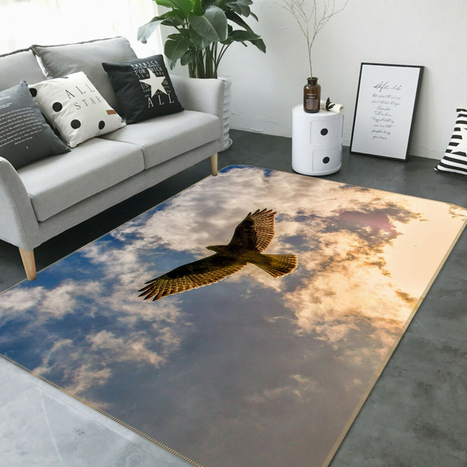 3D blu Sky Eagle Flying C205 Animal Non Slip Rug Mat Elegant Photo Carpet Zoe