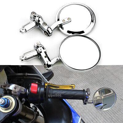 Chrome Universal Motorcycle Rearview Mirrors 7//8 Bar End For Cafe Racer Honda Yamaha Suzuki Kawasaki Scooter Chrome