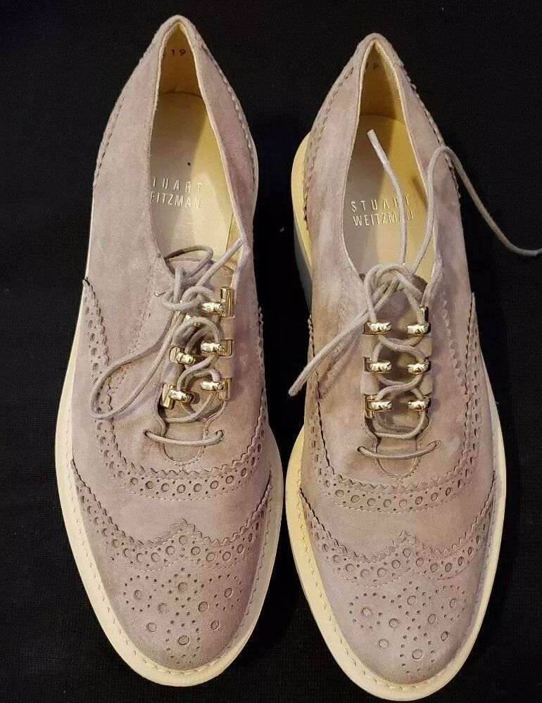 $500 Stuart Weitzman 'Pipekent' Platform ELEVATED Braun Oxford SHOES Braun ELEVATED Suede 5.5 a98490