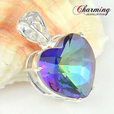 Love Heart Rainbow Mystic Topaz Gemstone Silver Pendant For Christmas Gift NEW