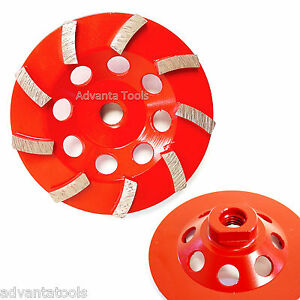 "4.5"" Spiral Turbo Diamond Cup Wheel for Concrete Grinding 9 Segs 5//8""-11 Arbor"