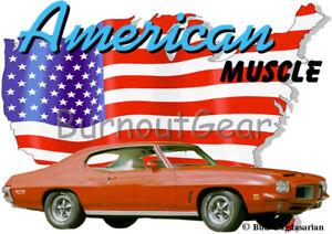 1964 Blue Pontiac GTO Custom Hot Rod USA T-Shirt 64 Muscle Car Tees